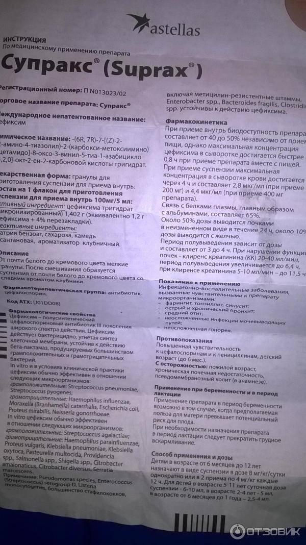 Супракс: инструкция по применению суспензии для детей, аналоги антибиотика
