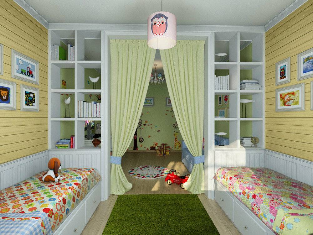 Дизайн детской комнаты для двоих разнополых детей