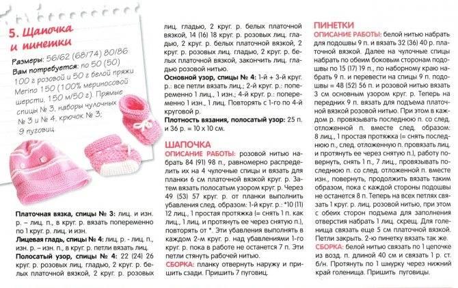Пинетки спицами для новорожденных от 0 до 3 месяцев