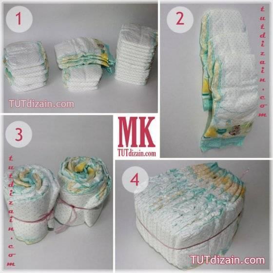 Коляска памперсов для девочки своими руками. коляска из памперсов своими руками