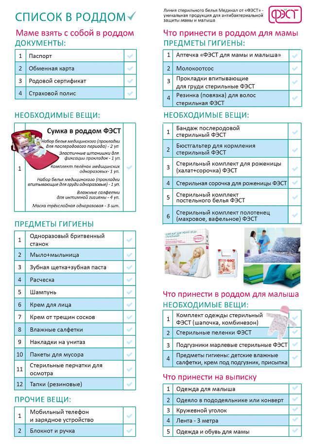 Что нужно взять с собой в роддом: список необходимых вещей
