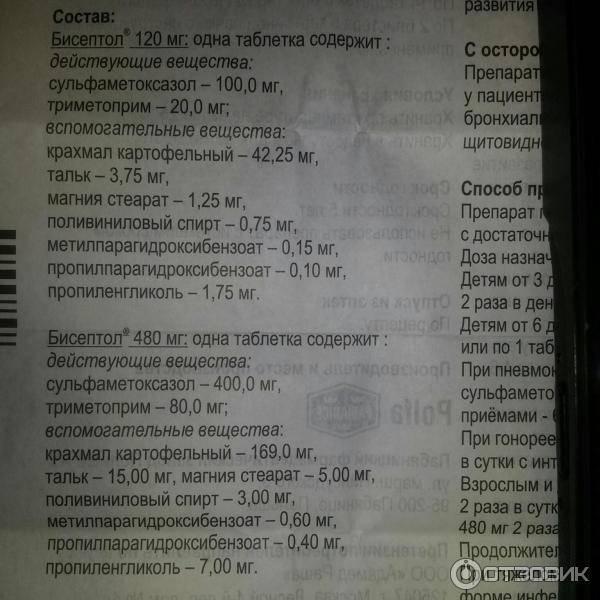 Бисептол таблетки 480 мг 28 шт.