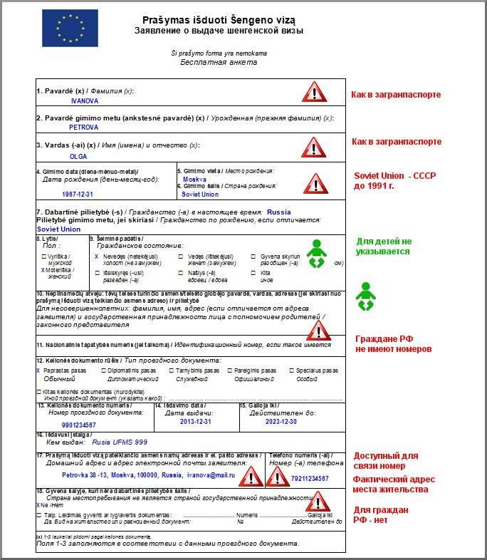 Какие документы нужны ребенку для оформления визы если у родителей есть шенген
